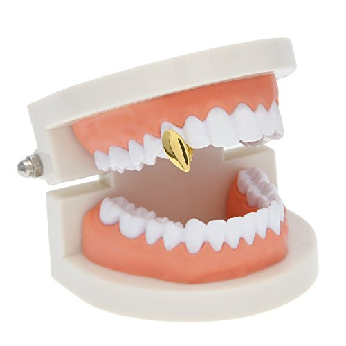 HongBoom New Hip Hop Bling Bling Vampire Teeth Fangs Grillz Caps Top & Bottom Gold Plated Dental Grill Set (One Gold)