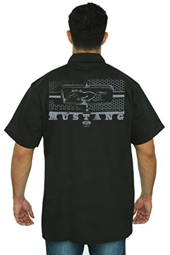 Men's Mechanic Work Shirt Ford Mustang Honeycomb Grille: Black (XXL) (Grille Horse)