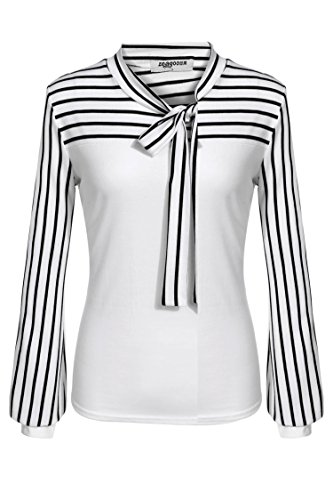 Zeagoo Ladies Tie-Bow Neck Striped Long Sleeve Splicing Autumn Shirt (X-Large, White.)