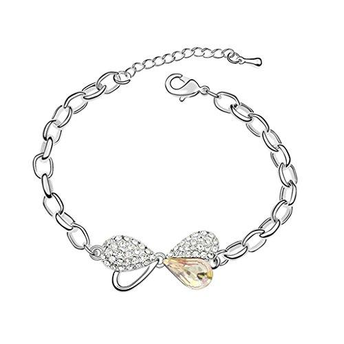 Beydodo White Gold Plating Bracelet For Women (Link-Bracelets),Austria Crystal Bow Knot Green CZ (Long Link Stampato Bracelet)