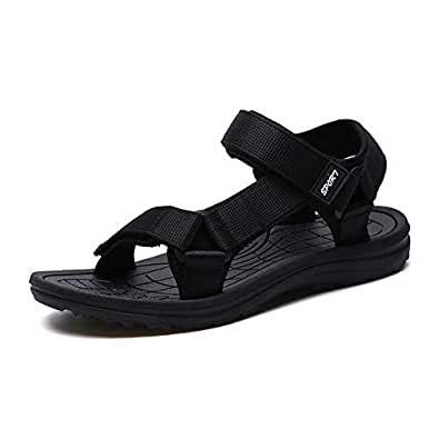 Xujw-shoes, Mens Outdoor Sandals Summer Water Beach Slipper Shoes for Men Antislip Hook&Loop Strap Mesh Upper Waterproof Quick Dry Two Tones Flat Walking Open Toe (Color : Black, Size : 6 UK)