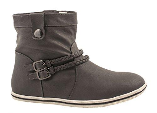 Elara Damen Schlupfstiefel | Flache Stiefelette | Trend Boots Größe 40, Farbe Grau