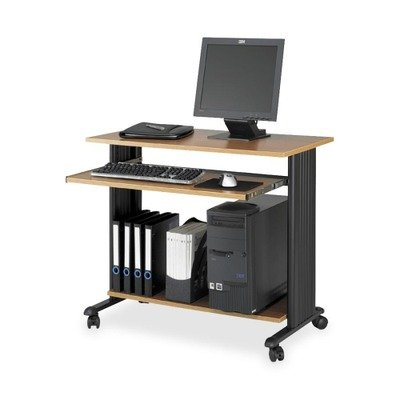 Safco Products 1921MO Muv 30 1/2''H Stand-Up Desk Fixed Height Computer Workstation with Keyboard Shelf, Medium Oak by Safco Products