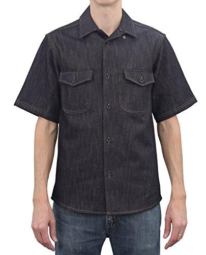 ASD Living Vintage Draper Denim Short Sleeve Server Shirt, Large, Indigo by ASD Living