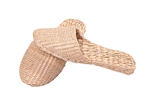 YUDU Men's Casual Handmade Natural Straw Indoor Slippers Ecological Shoes Massage Sandal