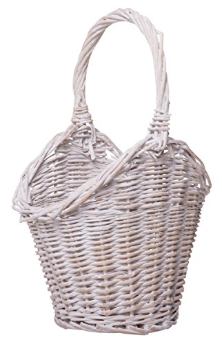 (Red Co. White Willow Decorative Basket, Home Centerpiece Décor, Distressed White, Small, 11-inch )
