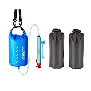 LifeStraw Mission High-Volume Gravity-Fed Water Purifier 5 Liter with 2 Bonus 1 Liter Vapur Bottles