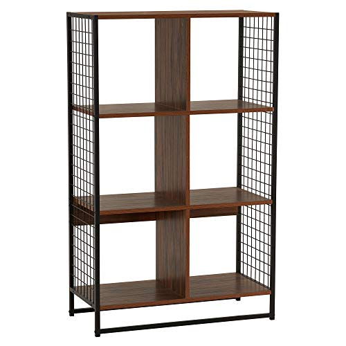 Household Essentials 8116-1 6 Organizer with Metal Mesh Sides | Fits 13 Inch Storage Cubes | 28.2 in W x 13.3 in D x 42 in H | Black and Hickory
