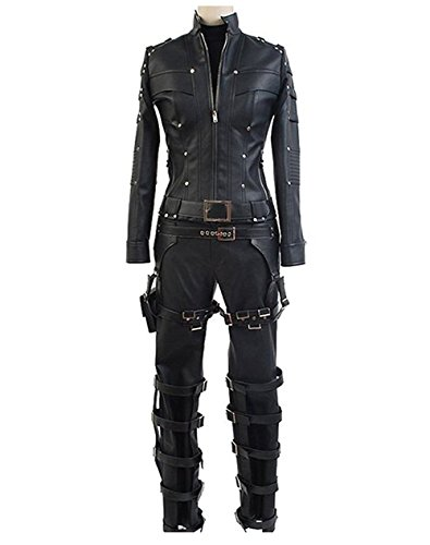 (TISEA Women's Cosplay Costume Black Canary Laurel Lance PU Pleather Outfit Suit)