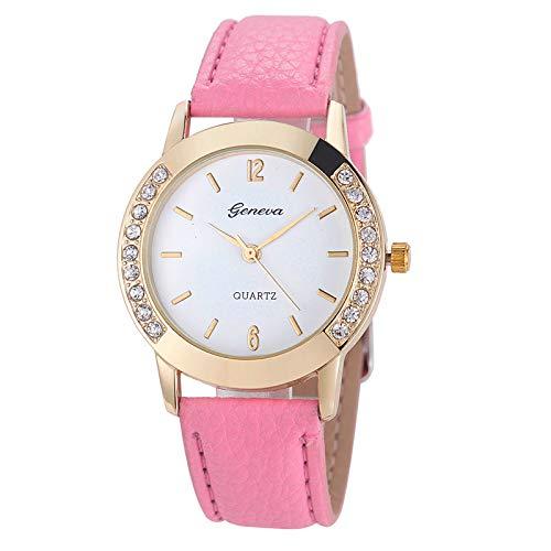- Geneva Fashion Women Wrist Watch,Outsta Diamond Analog Leather Quartz Watches Bracelet for Women Great Gift (Pink)