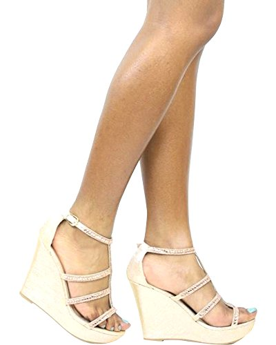 TOP Moda JESSIE-36 Women's Wedge Sandal Champagne 7.5 B(M) US