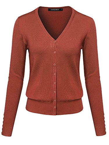Solid V-neck Buttons - Basic Solid V-Neck Button Closure Long Sleeves Sweater Cardigan Rust M