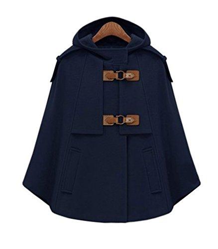 Mezcla Armada lana Trench capa con poncho gabardina abrigo capucha de abrigo corto para mujer 86Hxg
