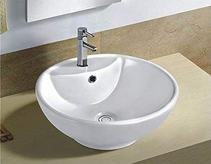 Phenomenal White Round Ceramic Bathroom Kitchen Vessel Sink Porcelain Vanity Above Counter Basin Bowl Cl 1042 Home Remodeling Inspirations Genioncuboardxyz