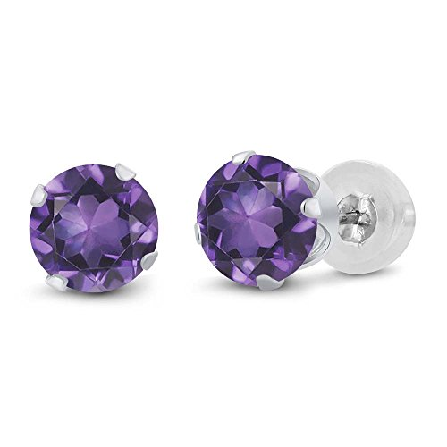 1.50 Ct Round 6mm Purple Amethyst 14K White Gold Stud (White Amethyst)