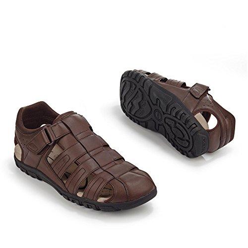 Geox - Sandalias de vestir de Material Sintético para hombre marrón oscuro