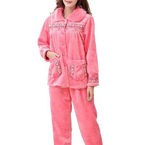 MOXIN In autunno e in inverno le donne dimensioni di corallo addensante Sleepwear vello invernale da donna flanella Long-Sleeve Lounge impostato?Anguria rossa , 86011 , l