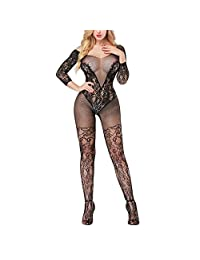 Women's Full Body Fishnet Bodystocking Transparent Lingerie Bodysuit Stocking