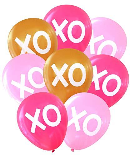 (Nerdy Words XOXO Hugs & Kisses Balloons (16 pcs) (Pinks & Gold))
