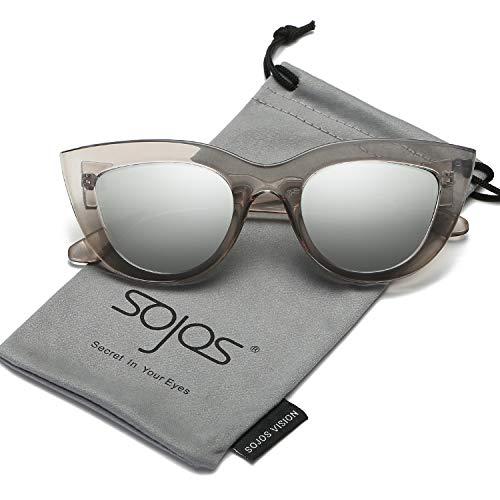 Silver Transparent Frame (SOJOS Retro Vintage Cateye Sunglasses for Women Plastic Frame Mirrored Lens SJ2939 with Transparent Grey Frame/Silver Mirrored Lens)