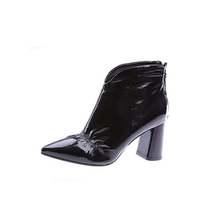 Hbdlh Scarpe Da Donna moda Affilato Con Alto 8cm Temperamento Lacca Pesante Tallone Zip Bello Breve Stivali Marea