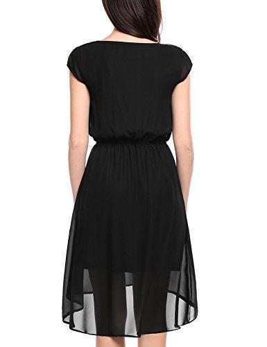 Zeagoo Damen Abendkleid Partykleid Strass Kette Asymmetrisch Tunika ...