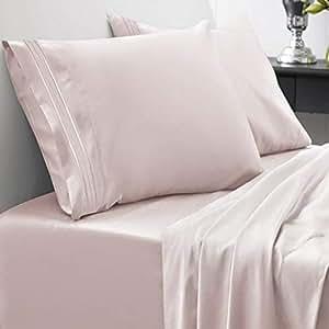 Sweet Home Collection Juego de edredón y sábanas cama, 1800  hilos, calidad egipcia, 4 piezas, de funda profunda, california king, color Beige