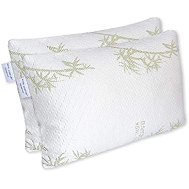 Hotel Comfort Premium Adjustable Memory Foam Pillow Ultra-Soft Bamboo Cover - Queen Size - Set of 2