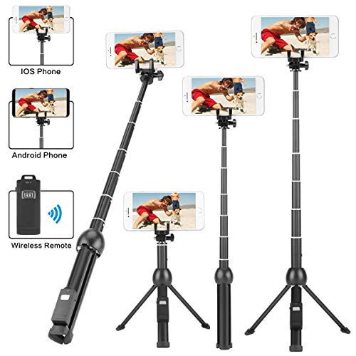 LOVAIN 45 Inches Selfie Stick Tripod Stand, Camera Mobile Cell Phone Mini Tripod, Extendable With Wireless Remote, For iPhone Xs Max/Xs/Xr/X/8/7/6s/6 Plus/Samsung/And,Remote On The Leg Of Tripod