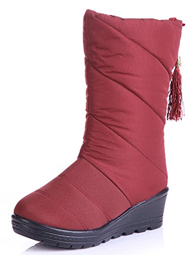 Antiskid Mid Booties Winter Red Snow Heels Wedge Calf IDIFU Mid Womens Tassels Boots 1Uxq5