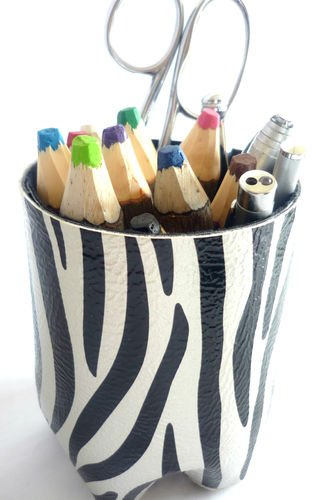 Pen/Pencil Holder*SILVER ZEBRA*made from Post Consumer Recycled Materials by Patrick Pang Planet Care