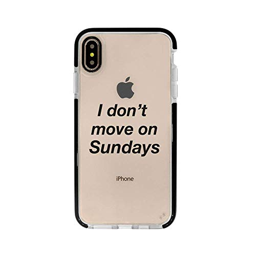 Ultra Slim iPhone Case - Silicone Protective Cover - Compatible for iPhone 11 - I Dont Move On Sundays - Funny Quotes - Hipster Trendy Life Attitude - Black Flexible Soft TPU Cover Case
