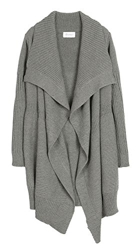 Annakastle New Womens Seed Stitch Drape Front Blanket Wrap Cardigan Size M,Ash Gray
