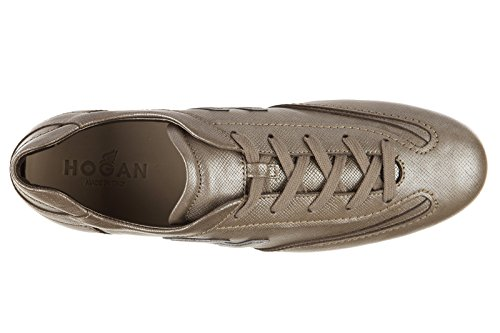 Hogan chaussures baskets sneakers femme en cuir olympia h flock marron