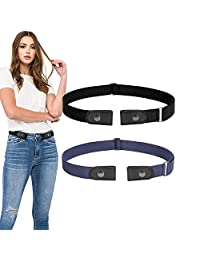 No Buckle Stretch Belt 2 Pack for Women Elastic Waist Belt for Jeans Pants Dresses, Suit for Pants Size 24-36 Inches, 01-Black+Blue