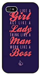 iPhone 5C Act like a lady, think like a man, work like a boss, black plastic case / Inspirational and motivational life quotes / SURELOCK AUTHENTIC