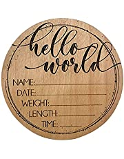 Hello World Birth Announcement Sign Welcome 3D Personalized Wooden Engraved Plaque for Baby Name and Birth Details - Celestial Newborn Gift Round Record a Beautiful Day (A)