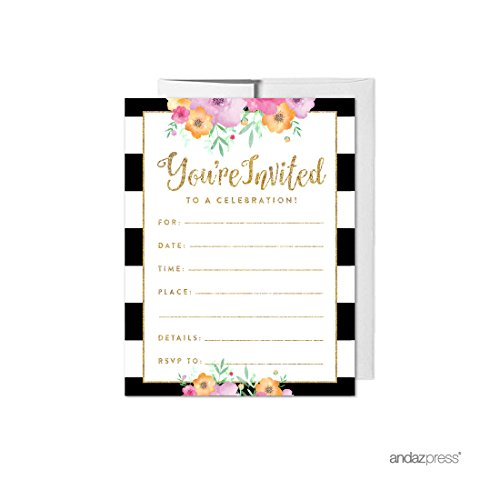 Andaz Press Floral Gold Glitter Print Wedding Collection, Blank Party Invitations with Envelopes, 20-Pack