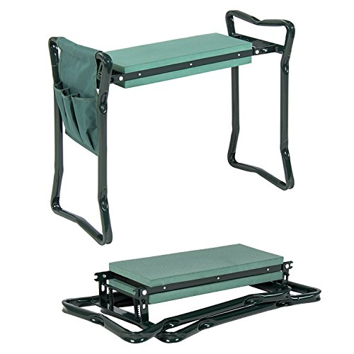 Chair Garden Seat - Garden Kneeler And Seat - Protects Your Knees, Clothes From Dirt & Grass Stains - Foldable Stool For Ease Of Storage - EVA Foam Pad - Sturdy and Lightweight - Bench Comes With A Free Tool Pouch!