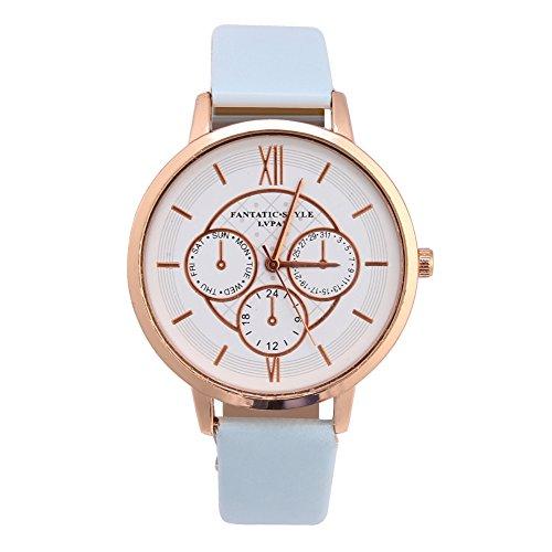 Dilwe Women Quartz Watch, 4 Types Fashionable Analog Quartz Watch PU Band Alloy Case Round Dial Wristwatch(Blue Band) ()