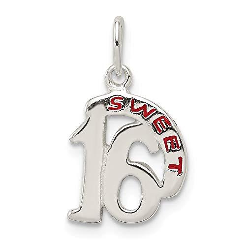 925 Sterling Silver Sweet 16 Pendant Sixteenth Birthday Charm Fashion
