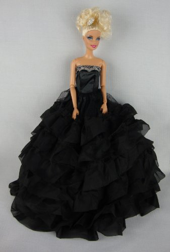 Beautiful Black Dress with Lots of Ruffles Made to Fit the Barbie Doll, Baby & Kids Zone