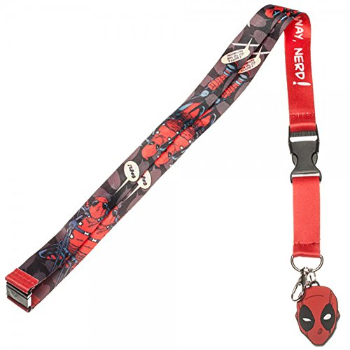 Marvel Comics Deadpool Lanyard with Rubber Charm and Collectible Sticker (Halloween Horror Nights Annual Pass)
