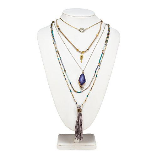 - Abbott Collection 54-BOHO-NK-5015 5 Layer Necklace Purple