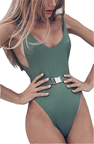 - FEIYOUNG Sexy Womens Monokini Scoop Neck One Piece Backless Cheeky Swimwear Semi Thong Bikini with Belt (Small, Green)