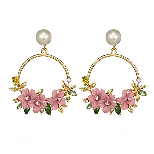 shi tou Pearl Earrings for Women,White Pearl Earrings,Hoop Earrings,Jewelry Gifts, Elegant Flower Large Circle Earrings for Women Fashion Simulated Pearl Rhinestone (Pink)