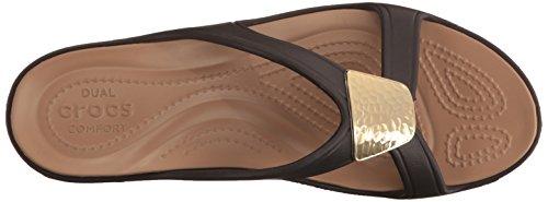 Sandal GOLD Sanrah Crocs Bronze Women's Embellished Wedge 4U1wwTaIq