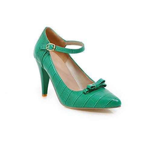 Balamasa Girls Hebilla Gatito-tacones En Relieve Cuero Ajedrez Bombas-zapatos, Verde (verde), 35