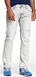 Blacx Men's Light Grey Distressed Jeans (32)
