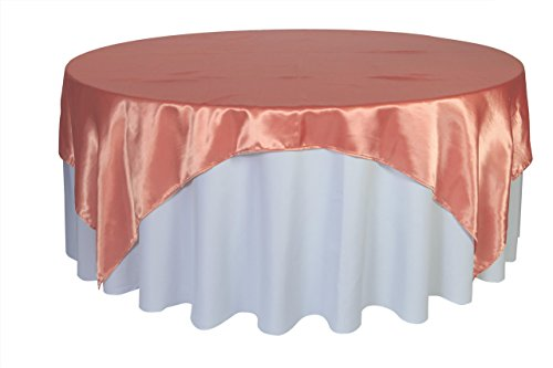Your Chair Covers - 90 inch Square Satin Table Overlay Coral, Square Satin Table Cloths